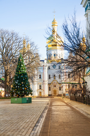 lavra: Kiev Pechersk Lavra or Kyiv Pechersk Lavra, Cathedral of the Dormition and new year tree Stock Photo