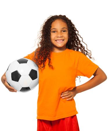 action girl: Little African girl holding soccer ball isolated