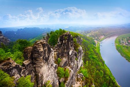 schweiz: Beautiful view of Bastei rocks, Sachsische Schweiz