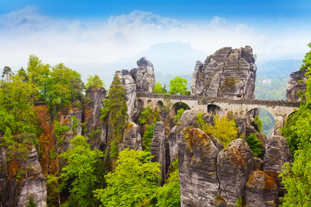 schweiz: Stones and Bastei bridge in Sachsische Schweiz