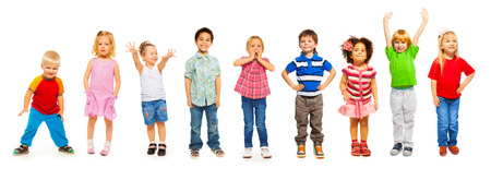 small group: Combination of little kids standing isolated Stock Photo