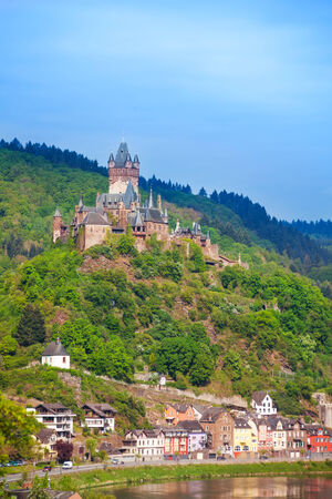 mosel: Cochem Imperial Castle, mountain and Mosel river