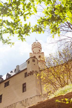 rhein: Marksburg castle in Germany at sunny spring day Editorial