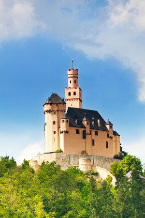 burg: View of old medieval Marksburg castle