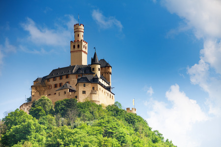 castle buildings: View Marksburg castle on top of the mountain