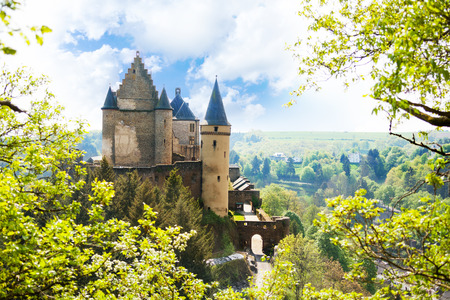 luxembourg: View of Vianden castle in Luxembourg from the hill