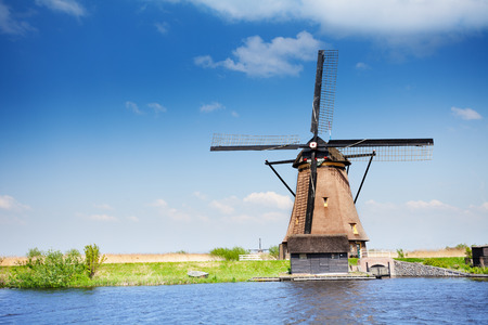 Old wooden arrogation mill in Holland