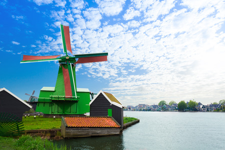 north holland: Authentic Zaandam mills on the water channel