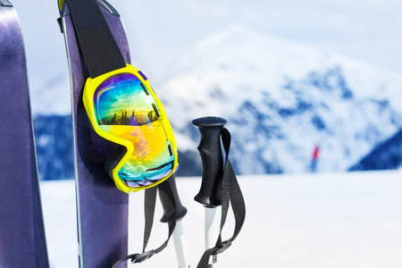 Ski equipment with skies mask and polles