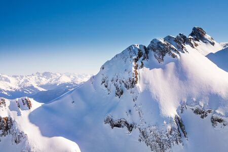 Caucasus mountains high view during winter Stock Photo
