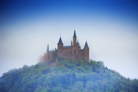 burg: Amazing view of Hohenzollern castle in haze