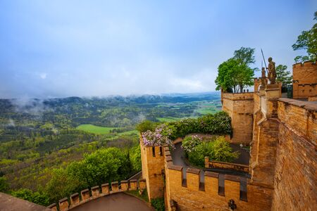 swabian: The landscape view and inner yard of Hohenzollern Editorial