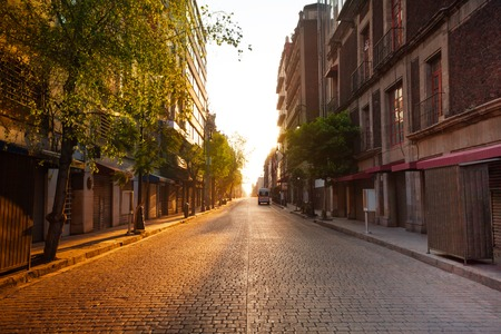 history building: Morning street view, old colonial part of town