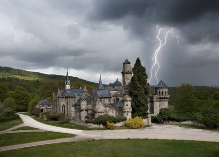 thunderstorm: Thunderstorm with lightning in Lowenburg castle Editorial