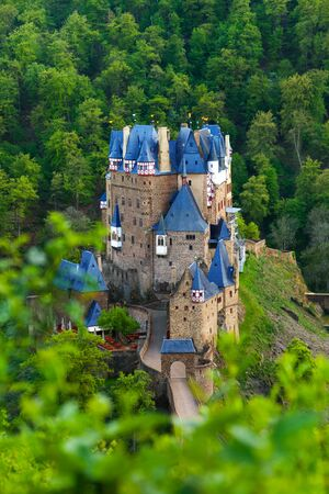 burg: View from hill above of Eltz castle in Germany
