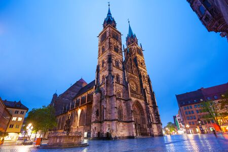 nuremberg: St. Lawrence church at night after rain, Nuremberg