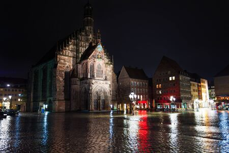 frauenkirche: Frauenkirche view at night after rain in Nuremberg Stock Photo