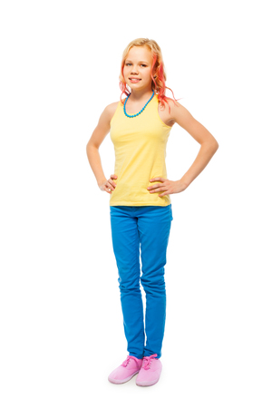 full height: Cute beautiful girl full height portrait isolated Stock Photo