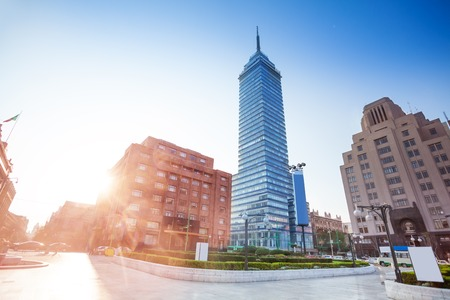 exterior architecture: Torre Latinoamericana and Juarez avenue, Mexico