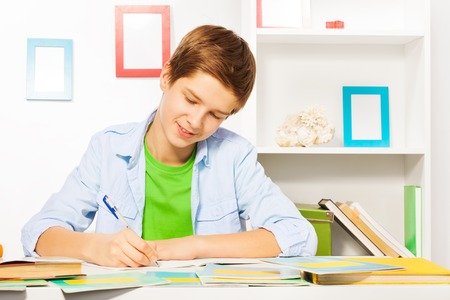 Smart handsome boy write in textbook, do homework