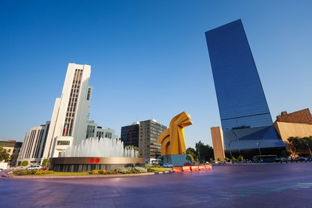 city square: Paseo de la Reforma square in downtown Mexico city