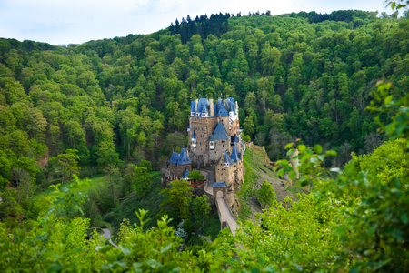 burg: Eltz castle view from above among forest hills