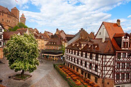 fachwerk: View from Kaiserburg of Fachwerk houses, Nuremberg Stock Photo