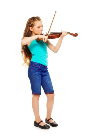 fiddlestick: Standing girl holding string and playing violin