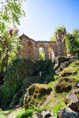 aqueduct: Old aqueduct ruins in Bergpark Kassel Germany