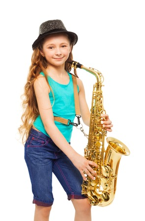 alto: Girl wearing hat and playing alto saxophone