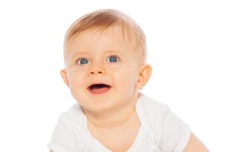 babygro: Portrait of laughing baby on the white background