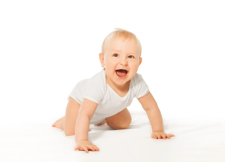 babygro: Laughing cute baby wears crawl with happy smile