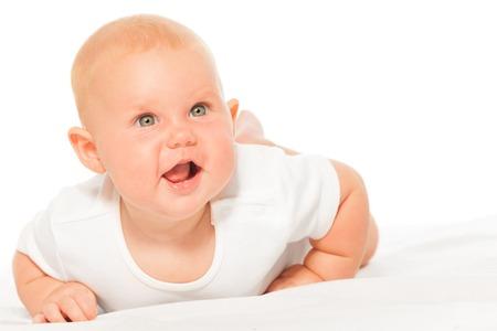 babygro: Chubby baby in bodysuit on white background crawls