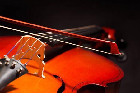 violoncello: Violoncello with bow stick on black background