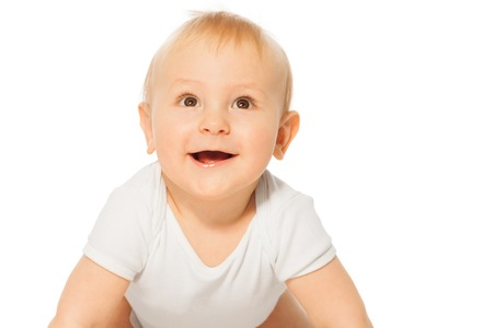 babygro: Close-up view of cheerful smiling baby