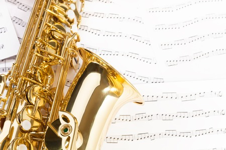 alto: Beautiful alto saxophone with detailed keys, bell Stock Photo