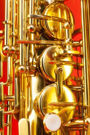 closeup view: Close-up detailed view of alto saxophone keys