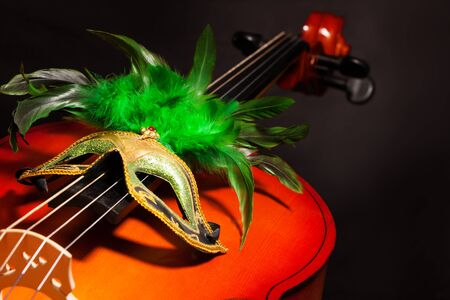 violoncello: Venetian mask with green feathers on violoncello with the black background