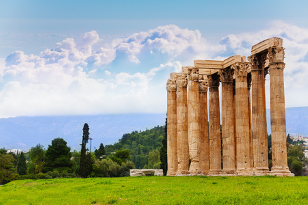 greece: Beautiful view of Zeus temple in Athens, Greece in summer time