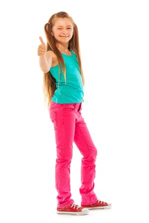 full height: Happy girl stand with thumb up gesture full height portrait isolated on white