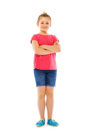 full height: Full height portrait of the nice Caucasian girl stand isolated on white