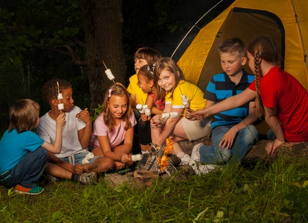 Teens sit with marshmallow treat near bonfire during camping in the forest together at night time