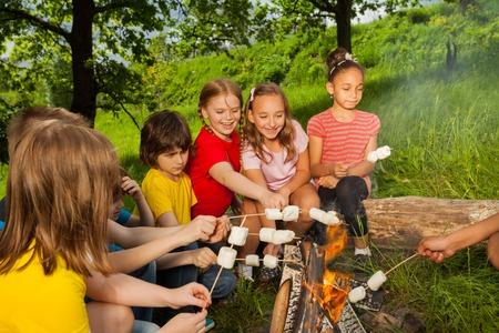 campamento: Adolescentes que se sientan cerca de la hoguera con la melcocha durante acampar en el bosque juntos