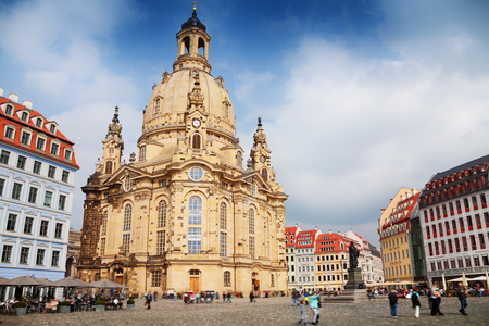 frauenkirche: Frauenkirche or Church of Our Lady cathedral and square in Dresden at summer day
