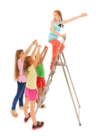 adversary: Kids chasing funny girl climbing up the ladder isolated on white