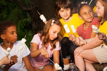 campamento: Los niños con malvavisco cerca de la hoguera durante acampar en el bosque juntos en la noche