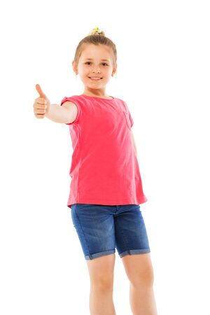 knees up: Happy girl holding had with thumb up knees up portrait isolated on white Stock Photo