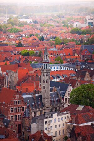 bruges: View from top of the Bruges cityscape in summer, Bruges, Belgium