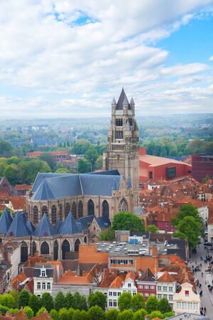 cathedrale: Cathedrale saint Sauveur in the Bruges cityscape during summer, Bruges, Belgium Stock Photo