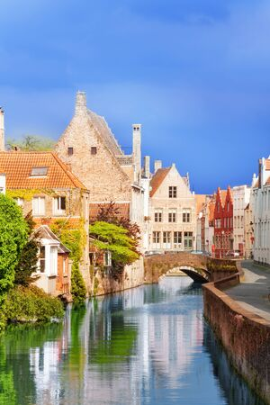 bruges: Beautiful Sint-Annarei canal view during summer in Bruges, Belgium
